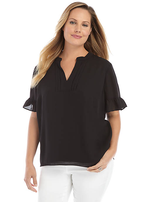 Plus Size Short Sleeve Pleated V Neck Blouse