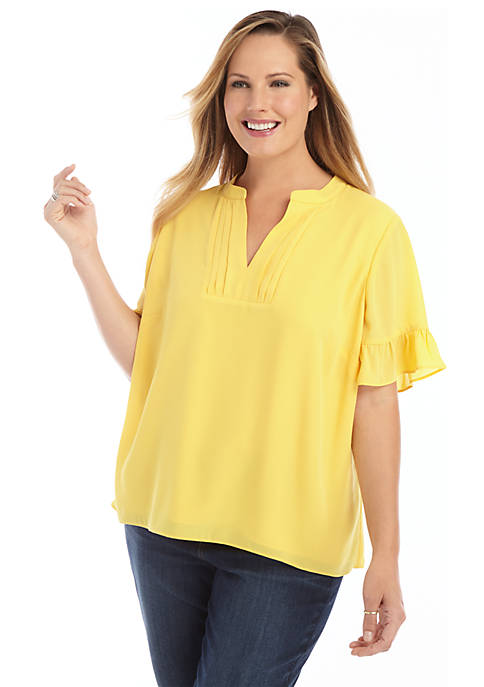 Plus Size Short Sleeve Pleated V Neck Blouse