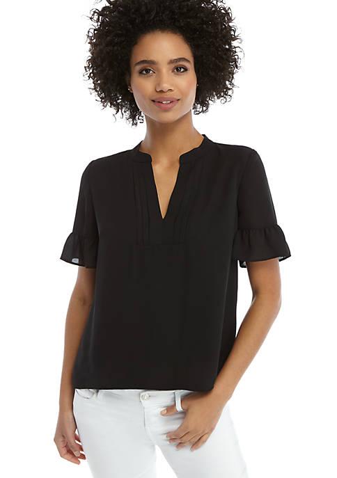 Petite Short Sleeve Pleated V Neck Blouse