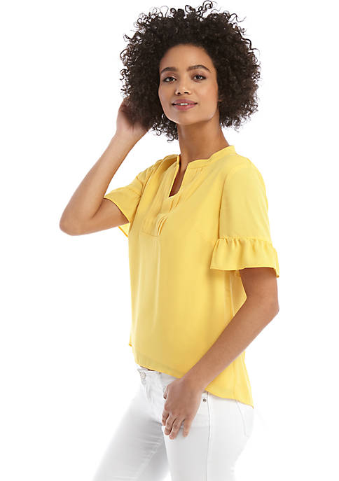 Short Sleeve Pleated V Neck Blouse