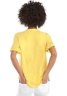 Short Sleeve Pleated V Neck Blouse