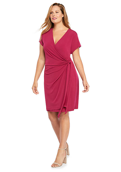 Plus Size Short Sleeve Wrap Dress
