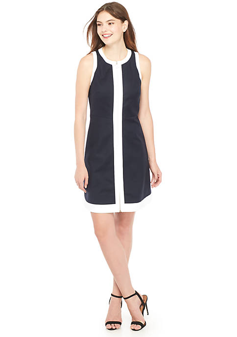 Zip Front Fit-and-Flare Dress