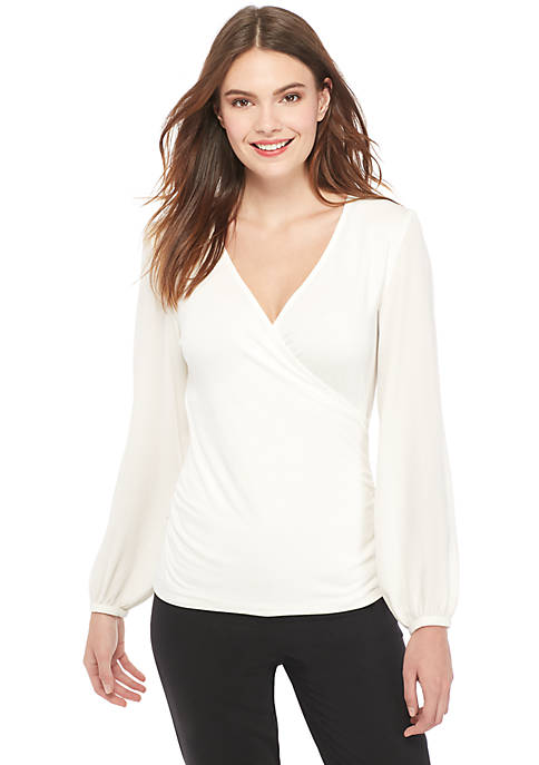 Petite Long Sleeve Surplice Rouche Side Top
