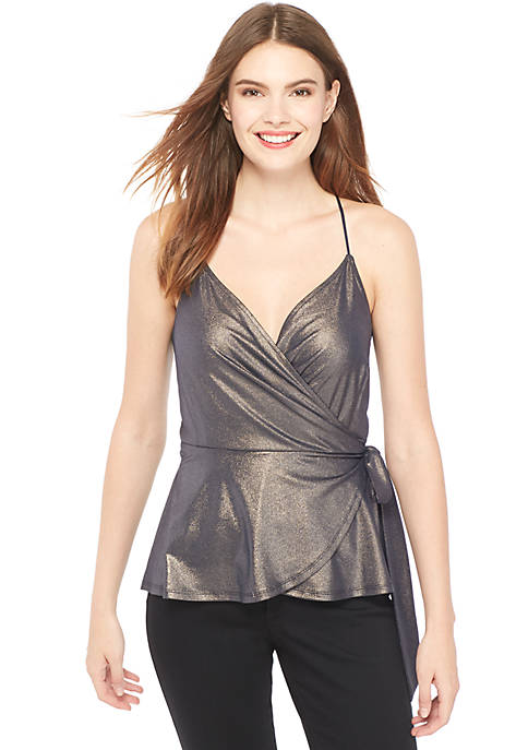 Sleeveless Shimmer Wrap Top