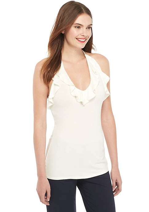 Ruffle Neck Sleeveless Tank