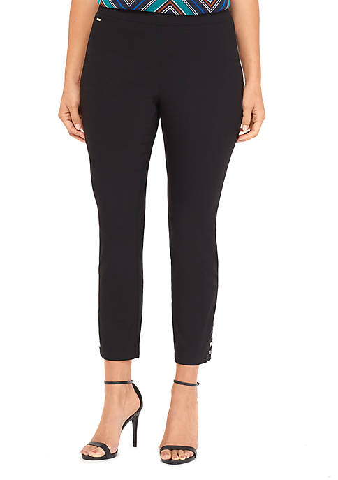 Plus Size Signature Pull On Ankle Pant with Metal Snaps in Exact Stretch