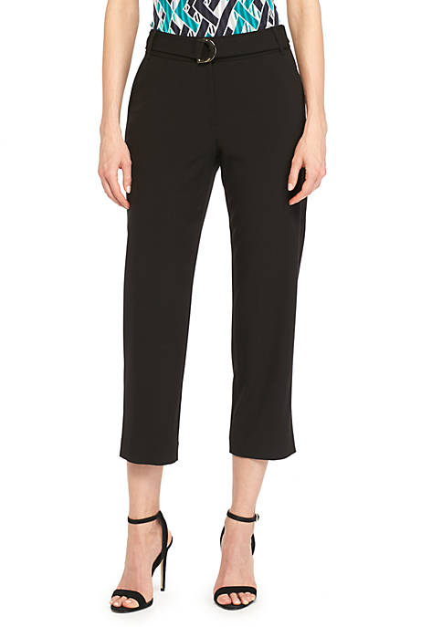 Signature Crop Pants with Fabric Belt In Modern Stretch