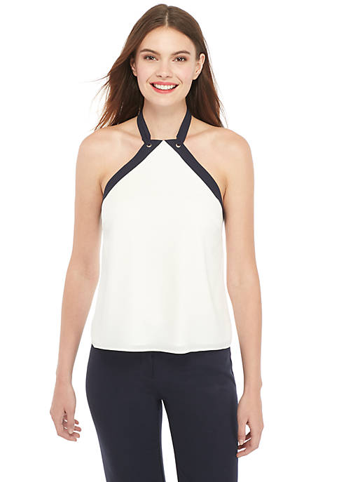 Fluid Crepe Halter Top Tank
