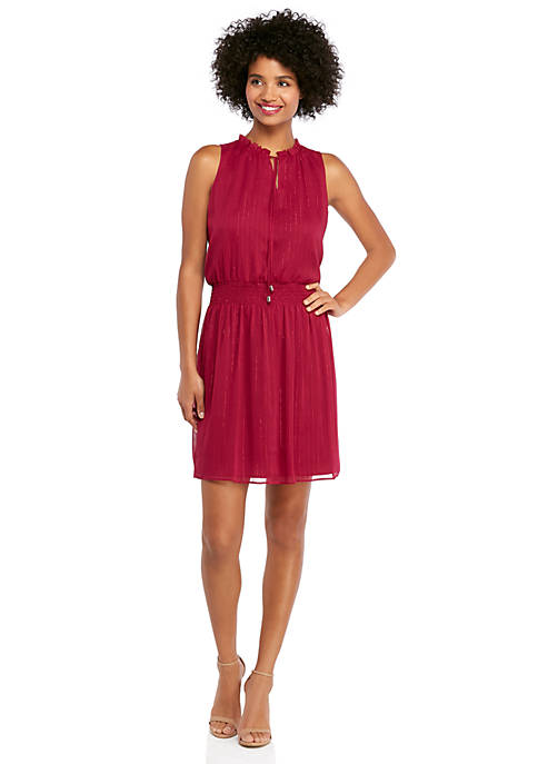 Petite Ruffle Tie Neck Cinched Waist Dress