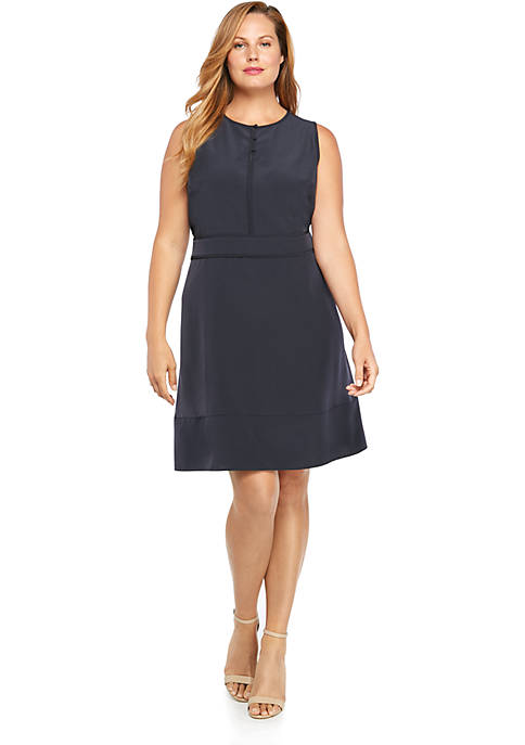 Plus Size Sleeveless Button Front Dress
