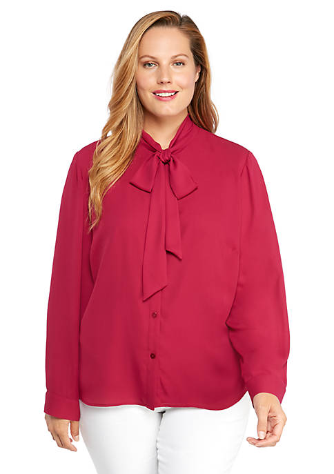 Plus Size Long Sleeve Tie Neck Chiffon Top