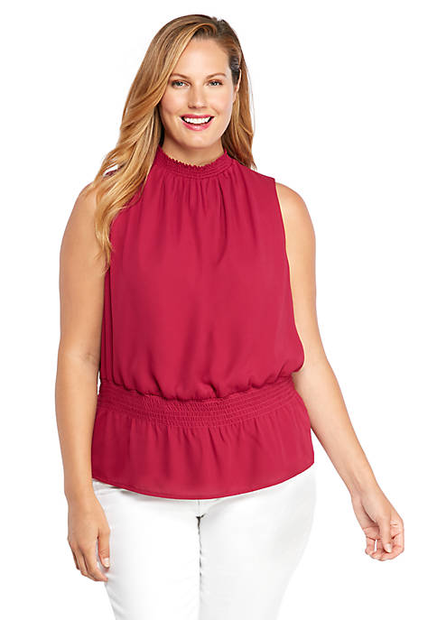Plus Size Sleeveless Cinched Waist Top
