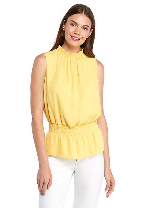 Sleeveless Cinched Waist Top