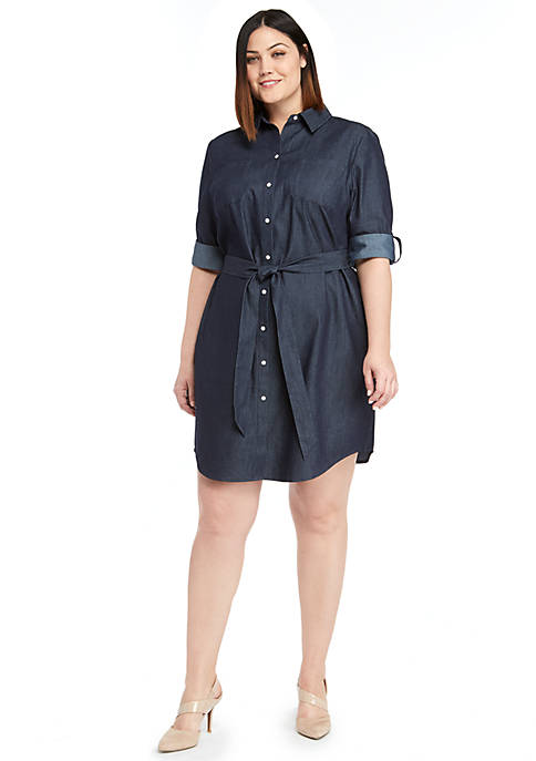 Plus Size Roll Sleeve Shirt Dress