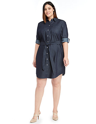 Plus Size Roll Sleeve Shirt Dress | THE LIMITED
