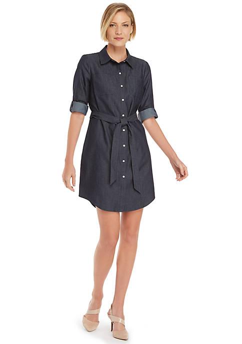 Petite Roll Sleeve Shirt Dress