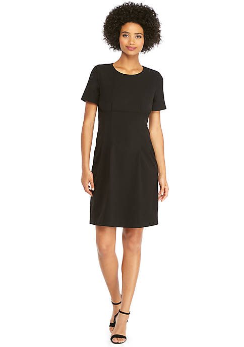 Petite Short Sleeve Dress in Modern Crepe