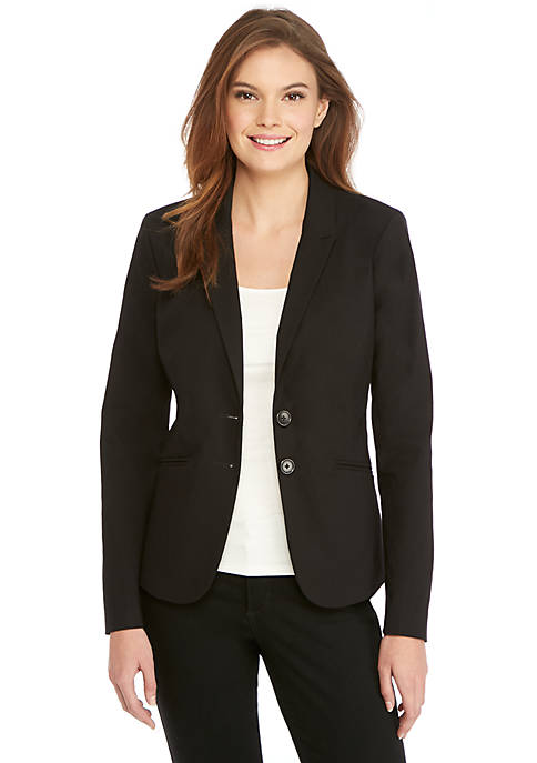 Petite Two Button Blazer in Exact Stretch