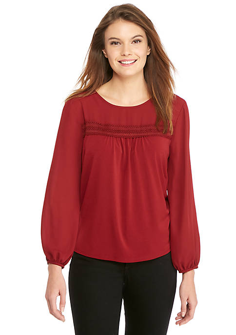 Long Sleeve Polycrepe Trim Blouse