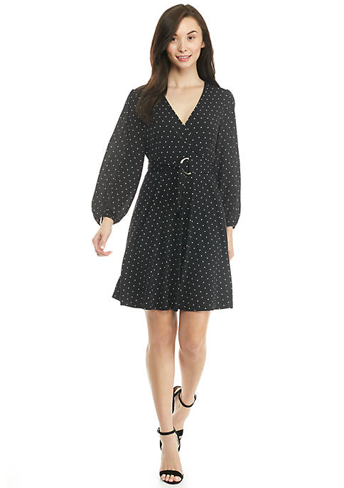 Petite Long Sleeve Tie-Waist Dress