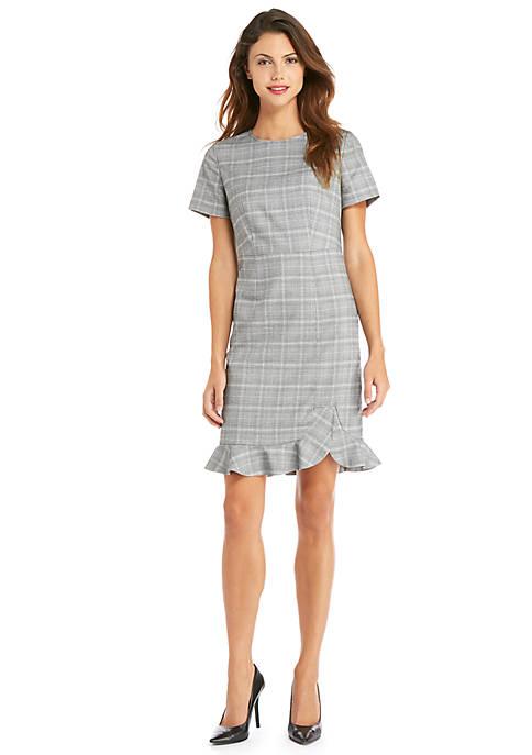 Petite Short Sleeve Plaid Ruffle Hem Dress