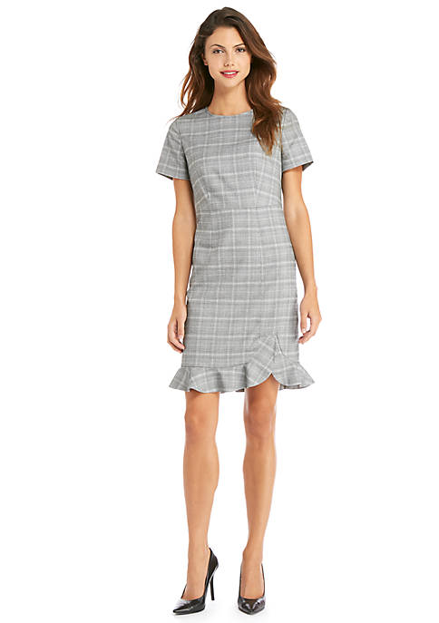 Short Sleeve Plaid Ruffle Hem Dress