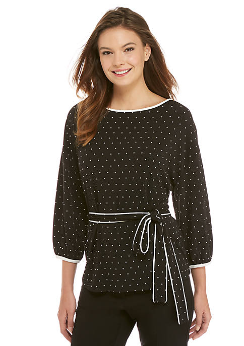 Petite Three-Quarter Sleeve Tie-Waist Top