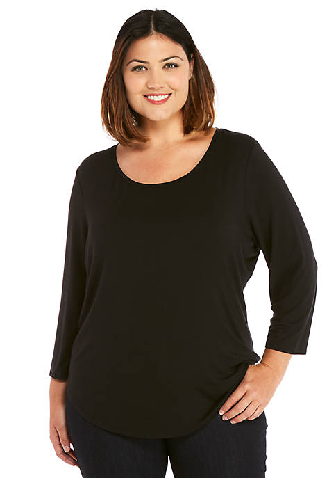 Plus Size Three-Quarter Sleeve Fashion Tee