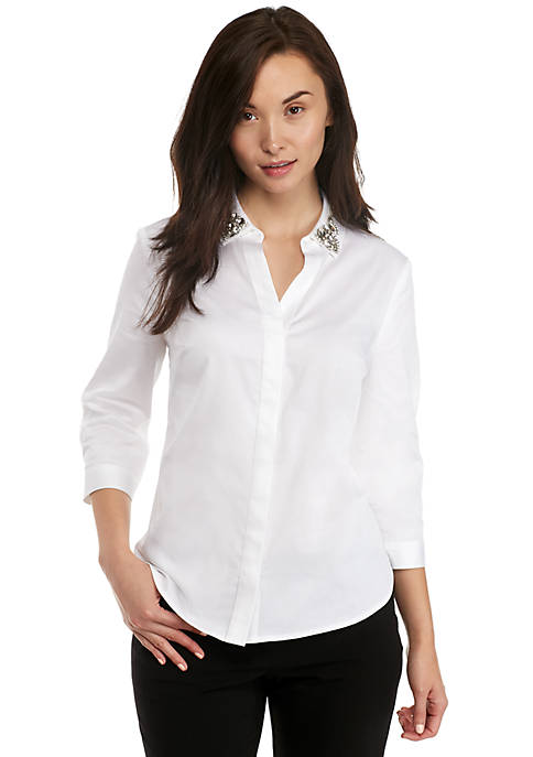 Petite Broach Button Down Shirt