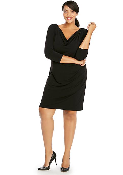 Plus Size 3/4 Sleeve Cowl Neck Dress