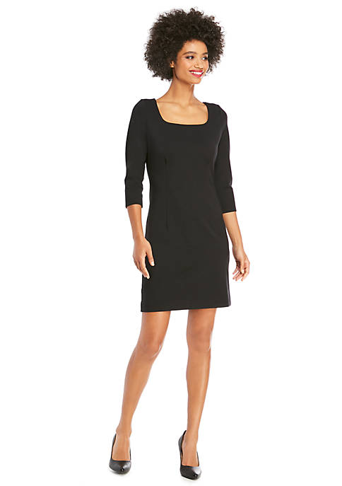 3/4 Sleeve Ponte Dress with Zipper