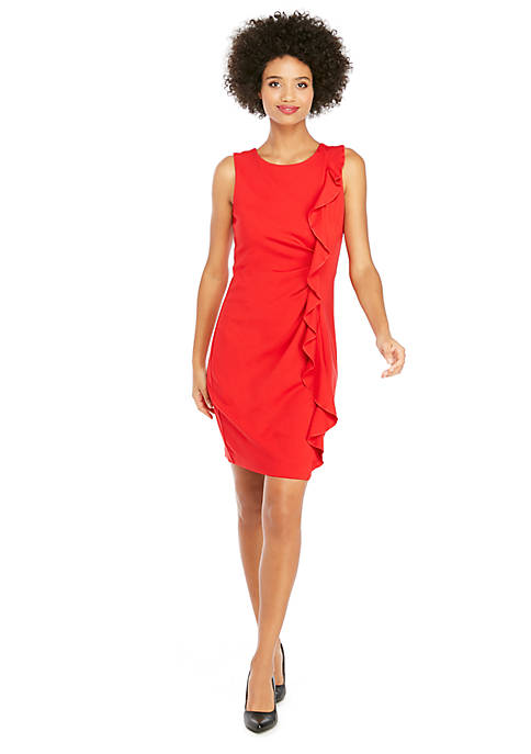Sleeveless Ruffle Front Ponte Dress