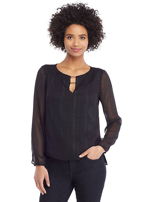 Crinkle Blouse with Bar Neck