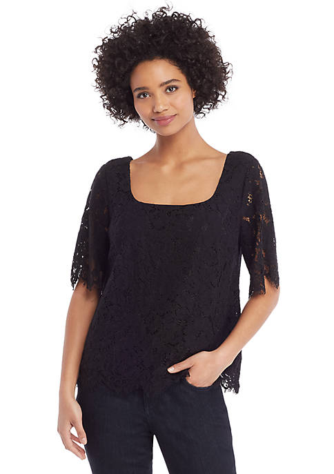Petite Corded Lace Elbow Sleeve Blouse