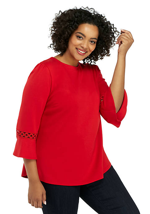 Plus Size 3/4 Lace Detail Sleeve Blouse