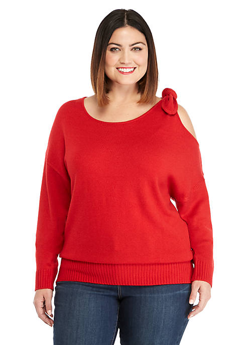 Plus Size Tie Shoulder Sweater