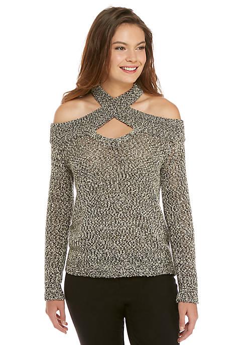Marled Bare Shoulder Pullover Sweater