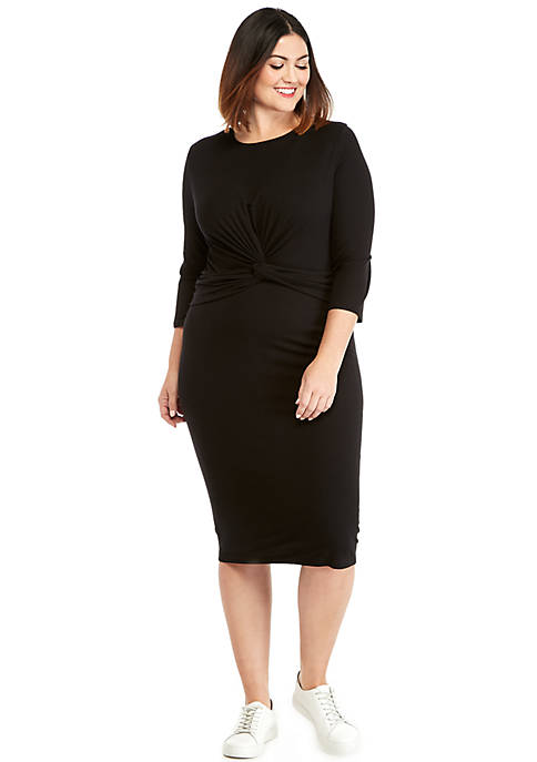 Plus Size 3/4 Sleeve Knot Front Dress
