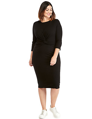 b30fb23ef186 Plus Size 3/4 Sleeve Knot Front Dress | THE LIMITED