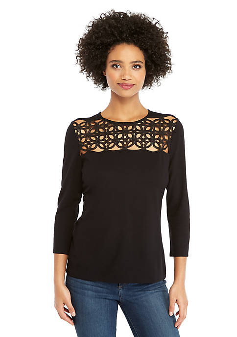 3/4 Sleeve Top with Lace Yoke