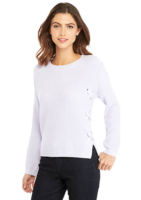 Petite Lace Front Sweater