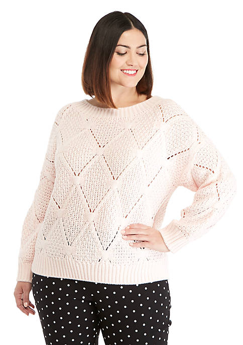 Plus Size Open Work Sweater