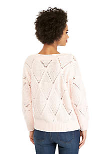 Petite Open Work Sweater