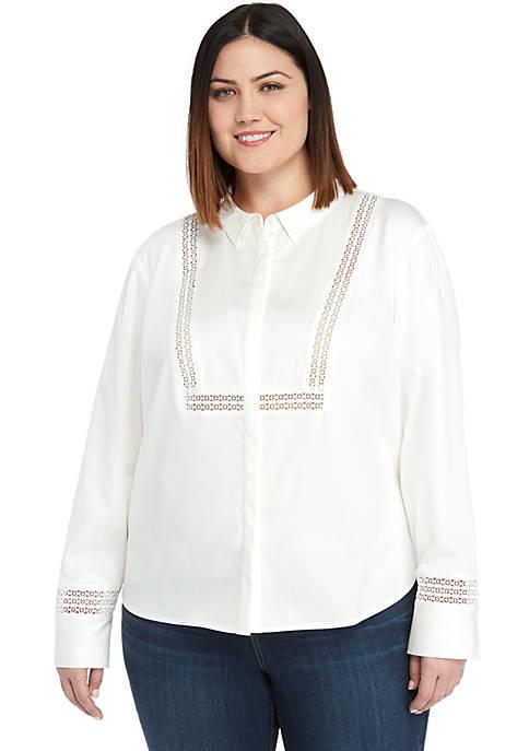 Plus Size Lace Trim Shirt