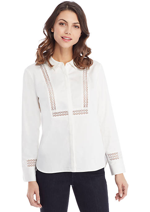 Petite Shirt with Lace Trim