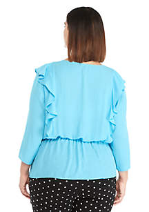 Plus Size Long Sleeve V-Neck Ruffle Front Blouse