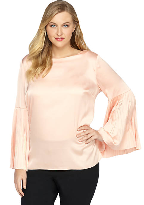 Plus Size Pleat Sleeve Blouse
