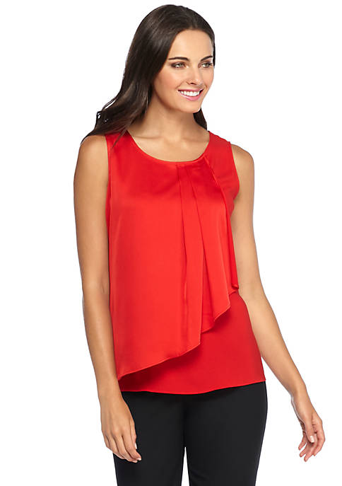 Sleeveless Asymmetrical Ruffle Top
