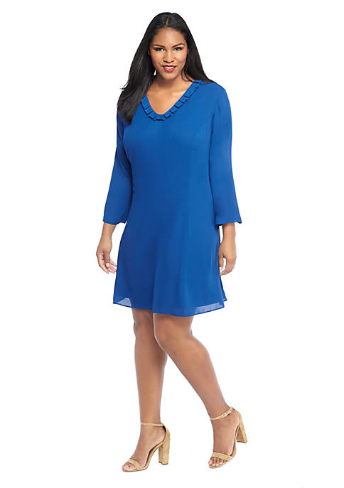 Plus Size Ruffle V-Neck Dress